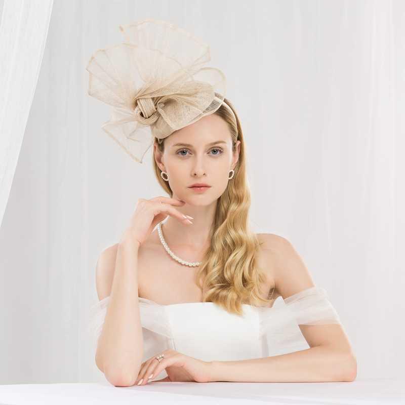 Champagne Color Flower Church Hats Women Elegant Sinamay Fascinator Base Ladies Wedding Pillbox Hat Bow Kentucky Derby Fedora