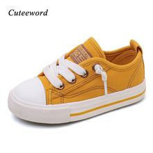 Children canvas shoes kids girls autumn for school fashion non-slip elastic band  boys casual black white red yellow