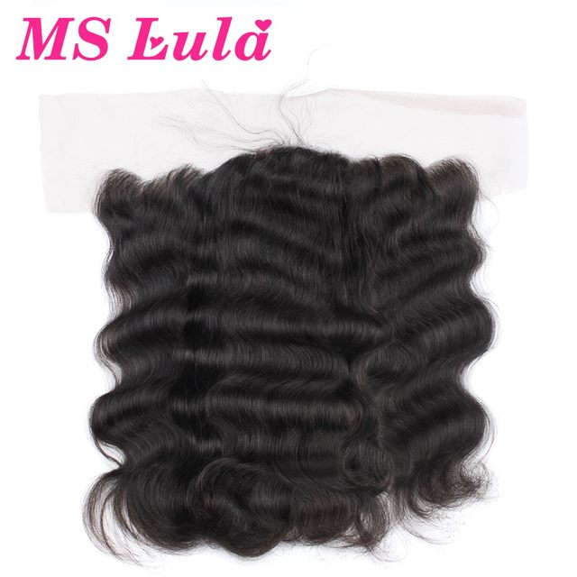 7A Free Shipping Lace Closure brazilian virgin hair body wave lace frontal closure 4x13 size ear to ear no smell Ms Lula hair
