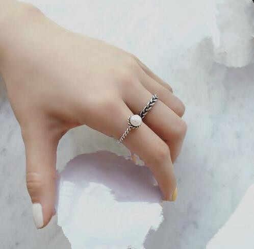 Acessórios de praia tecido torção de prata incrustada Imitação pérola anel aberto Do Vintage acessórios de moda feminina 2 pçs/set