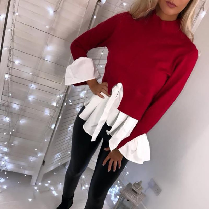 2019 Autumn Turtleneck Flare Sleeve Irregular Pullover Female Ruffles Split Patchwork   Blouse     Shirts   Kawaii Women Tops Jumper