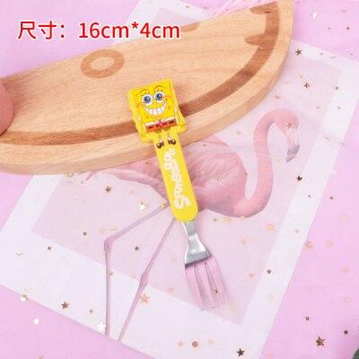 10 шт мультфильм Doraemon Губка Боб Ложка Вилка лучший подарок для детей - Цвет: yellow fork