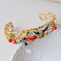 France Les Nereides Enamel Bracelet Oriole Bird Cherry Copper Gold Romantic Trendy Style Party Women Jewelry Wholesale 2016