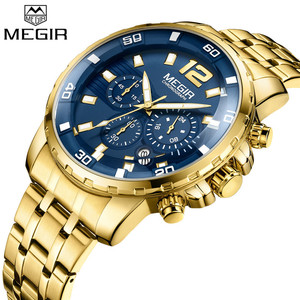 Image 1 - MEGIR גברים שעון יוקרה למעלה מותג הכרונוגרף לוח שנה שעוני יד צבאי ספורט מלא פלדה חדש זכר שעון Relogio Masculino 2068