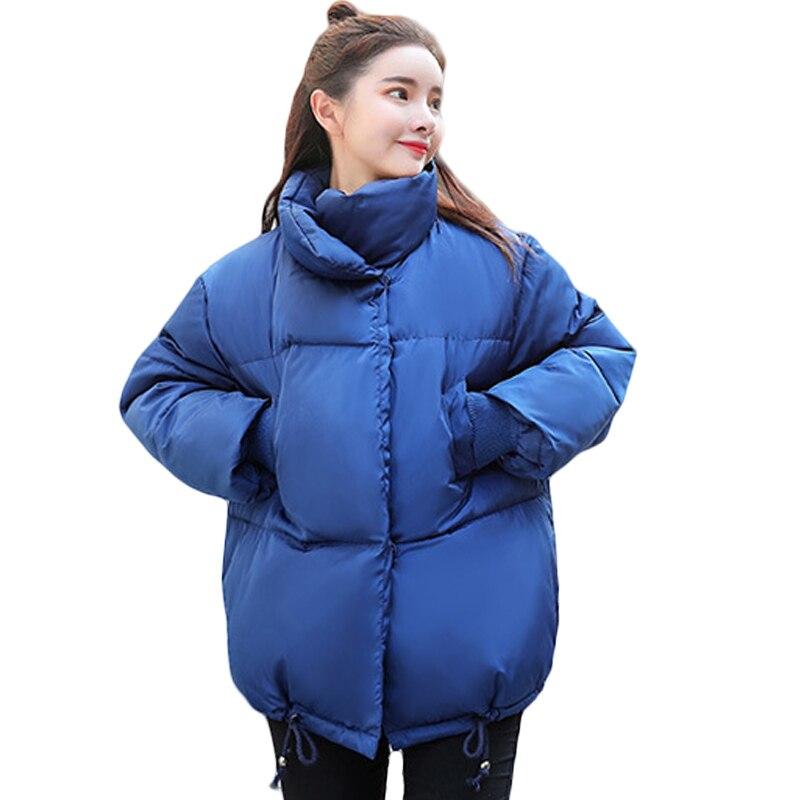New BF Style Stand Collar Bread Jacket Women Casaco Feminino Down Cotton Winter Jacket Coat Blue White Women Cotton   Parkas   D486
