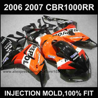 ABS Injection Motorcycle factory Fairings kits for HONDA 06 07 CBR 1000RR 2006 2007 CBR 1000 RR orange repsol fairing bodykits