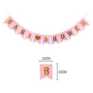 Image 2 - 1set Pink Blue BABY SHOWER Decoration Banner Paper Garland Tableware set Genderl Reveal BabyShower Boy Girl Party Supplies