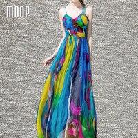 Vrouwen zomer bohemian multicolor print echte zijde jurk ruches back gedrapeerde halter jurken V-hals slip zonnejurk gewaad femme LT1418