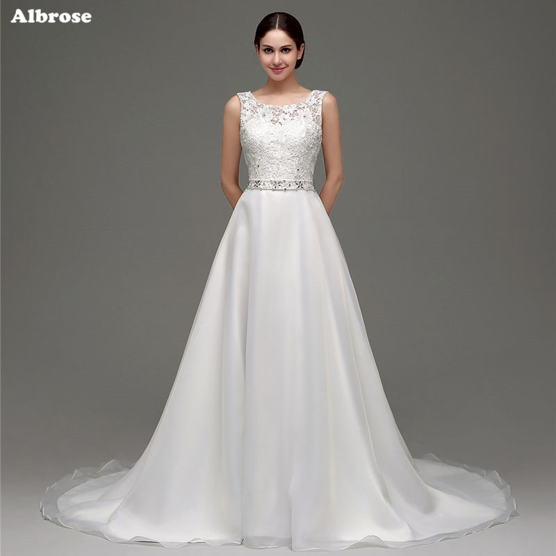 2270010fb1 Stock Sexy Backless Wedding Dress Crystals Beaded Tulle Lace Line Dresses  Long Chic Bridal Gown vestidos