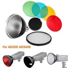 Godox AD S2 standardowy reflektor osłona z miękkiej dyfuzor + AD S11 filtr kolorów dla Godox AD200/AD180/AD360/ AD360II
