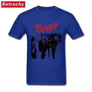 Image 2 - Büyük boy Bant Beyaz clash Gömlek Mens Benzersiz Kısa Kollu Pamuk Erkekler T Shirt Toptan Vintage Tarzı Merch Giyim