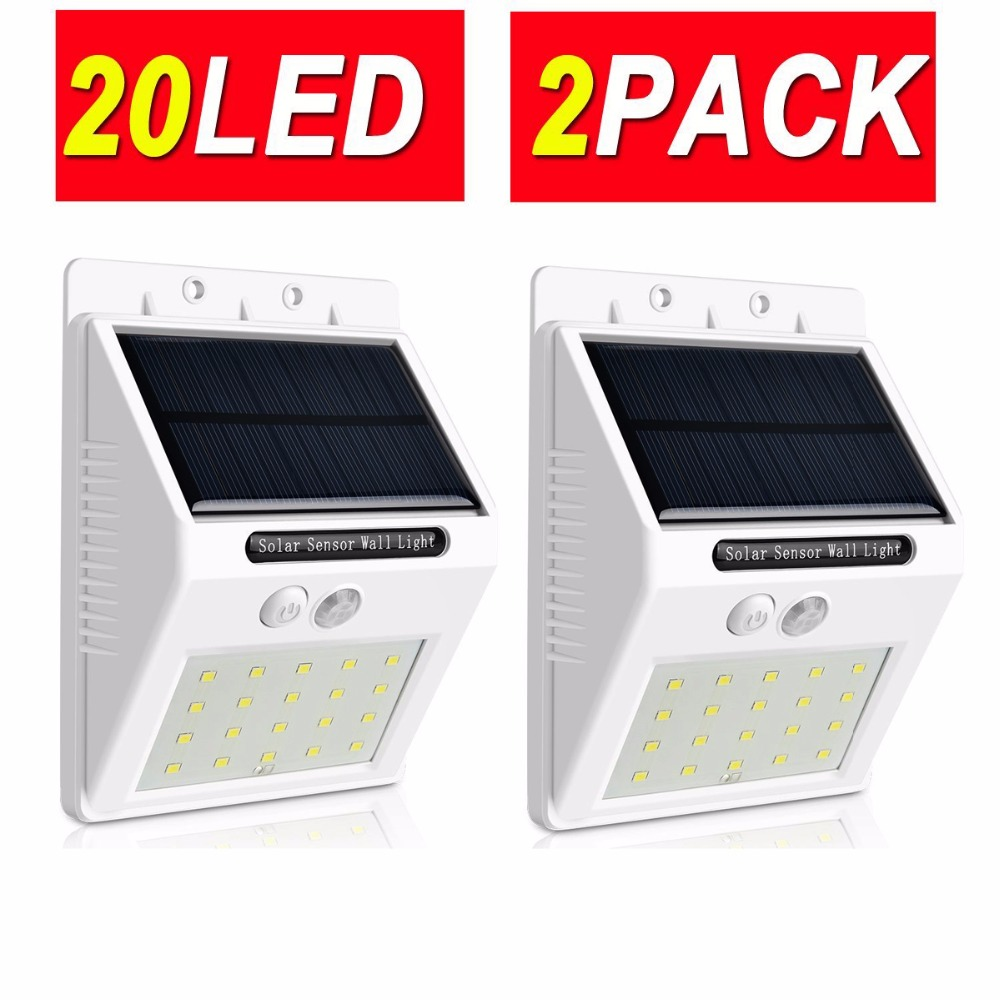 2Pack LED Solar Light Outdoor Garden 20LED Motion Sensor Lamp Waterproof  Security Lights For Wall,Driveway,Patio,Yard,Garden