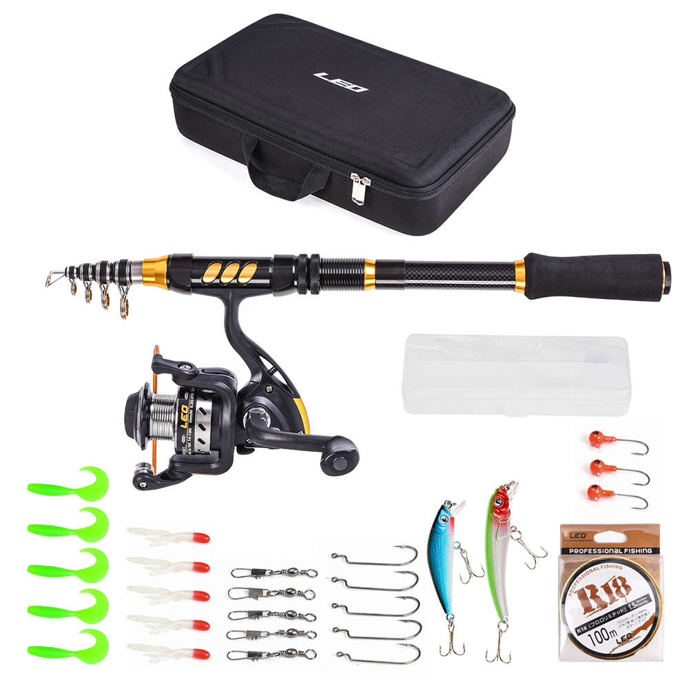 LEO Rod Combo Telescopic Fishing Rod Reel Set Carbon Fiber Rod with Spinning Reel Fishing Line