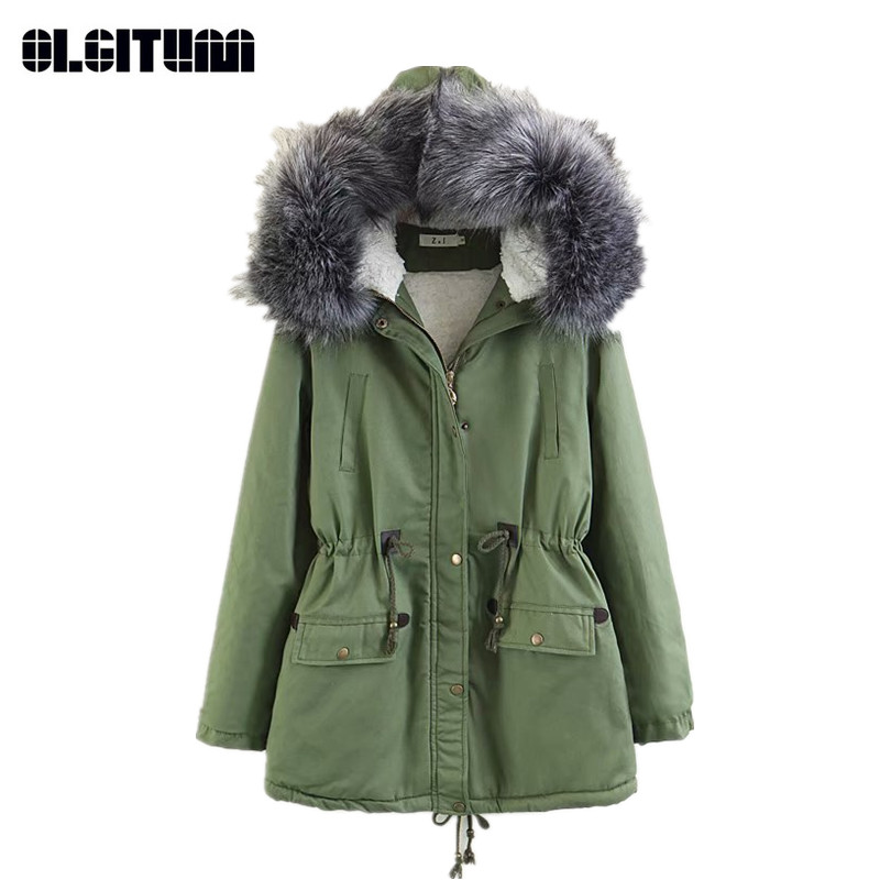 Winter Women's Jacket Coat Waist Slim Big Fur Collar Female   Parkas   Cotton Thick Hooded Coat Solid Lady   Parka   CC657