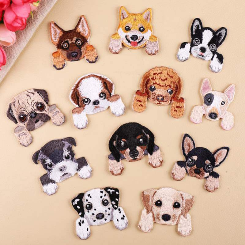 Cute Dogs Embroidery Non-woven fabric On Cloth Stickers For Clothing Applique Cartoon Puppy Sewing Patch DIY Dress Accessories image