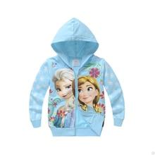 Куртки для девочек; куртка для малышей с изображением Анны и Эльзы; тонкая хлопковая куртка для детей; сезон весна-осень; пальто с капюшоном на молнии для девочек; детская одежда