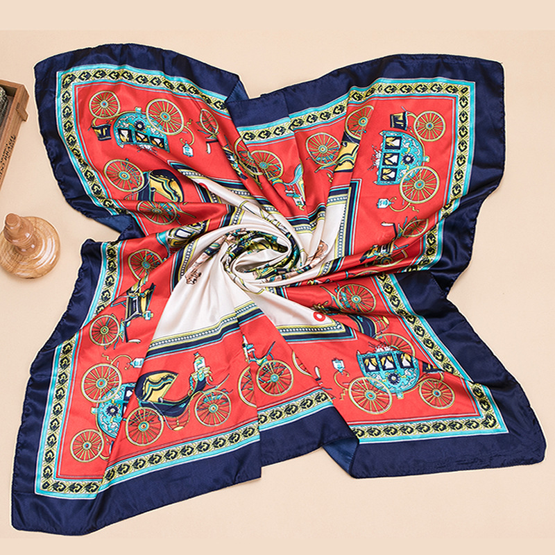 Autumn and winter Small Square Satin Scarf Artifical Silk Scarf holidays 90 Satin scarves ladies printed scarves in Women 39 s Scarves from Apparel Accessories