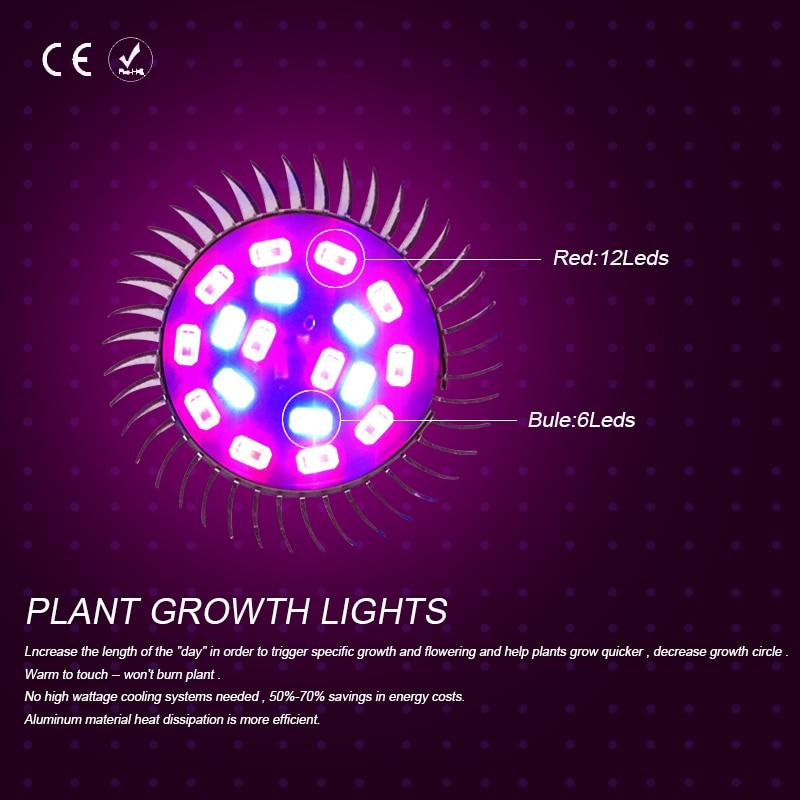 10PCS Full Spectrum Indoor plant growth lamp LED Bulb E27 18leds AC85-265V For Flower Seedling Hydroponic System Tent E14 5730