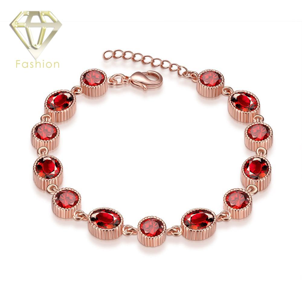 Rose Gold Color Bracelet Romantic Style Red Round Cubic Zirconia Link Chain Design Bracelet Fashion Jewelry for Girls Women