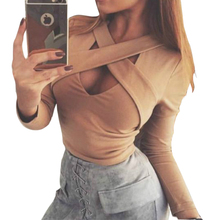 Criss Cross Bandage Hollow Crop Top 2017 Spring Fashion Sexy Long Sleeve Women Short Tops Slim Solid Party Club Shirts M0591