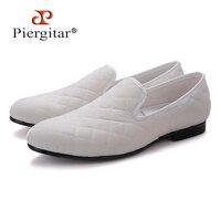Ручной работы; мужские белые и синие бархатные туфли с вышивкой в клетку; британский стиль; тапочки для курения; мужская повседневная обувь;