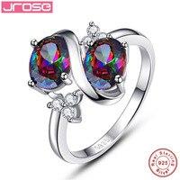 Jrose Vintage Huge 3 1CT Oval Cut 2 Stone S Style Mystic Rainbow Topaz 100 925
