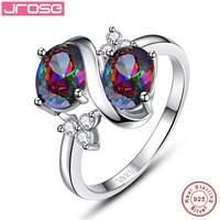 Jrose Rocznika Ogromne 3.1CT Oval Cut 2-S Styl Rainbow Mystic CZ 100% 925 Srebrny Pierścień Kobiety Biżuteria Rozmiar 6 7 8 9