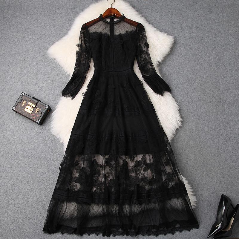ladies Lace dress xl luxury 2019 New High quality Spring summer Sexy Club Mesh Long Dress