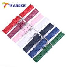 TEAROKE 7 Candy Color Leather Watchband Men Women 12-24mm Crocodile Pattern Waterproof Strap Band Watch Accessories High Quality