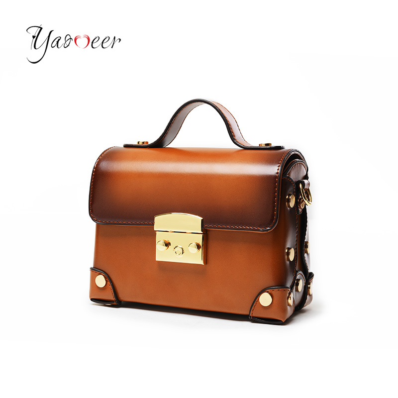 Yaomeer Women Rivets Messenger Bags Female Vintage Handbag Famous Brand Crossbody Bag Ladies Shoulder Bag Box bolsa feminina M06