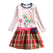 Girls long-sleeved dress plaid spring autumn new 2~8 years old child for girls embroidered H6328