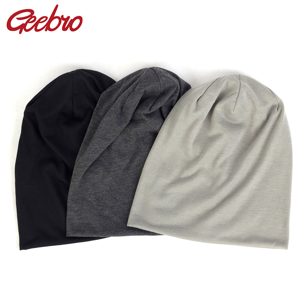 Geebro 2019 Women Men Unisex Knitted Winter Cap Casual Beanies Solid Color Hip-hop Snap Slouch Skullies Bonnet Beanie Hat