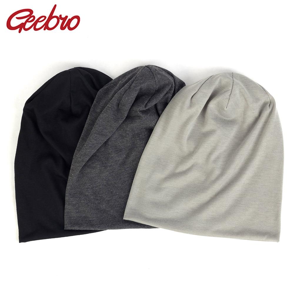 Geebro 2019 Women Men Unisex Knitted Winter Cap Casual Beanies Solid Color Hip-hop Snap Slouch Skullies Bonnet Beanie Hat