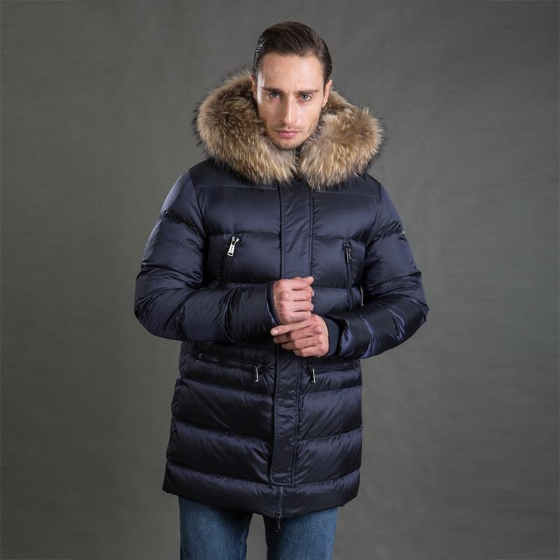 HERMZI 2019 Men Winter Jacket Fashion Coat Parka Thicken Detachable Hood Raccoon Fur Collar European Size Blue 4XL Free Shipping in Parkas from Men 39 s Clothing