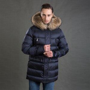Image 3 - Hermzi 2020 男性の冬のジャケットコートパーカー厚みの取り外し可能な毛皮の襟ヨーロッパサイズブルー 4XL 送料無料