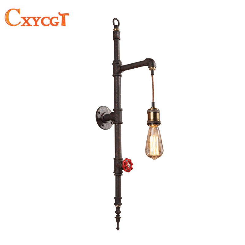 Water Pipe Loft Vintage Retro Wrought Iron Industrial Wall Lamp Sconce Pulley Lamps E27 Edison Pendant Lamp Home Light Fixtures american loft vintage pendant light wrought iron retro hanging lamp edison nordic restaurant light industrial lighting fixtures