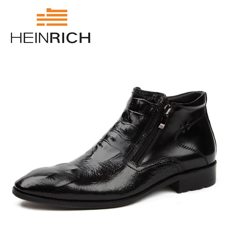 HEINRICH 2018 Genuine Leather Winter Men Warm Boots Warmest Casual Style Men Winter Personality Boots Coturnos Masculino
