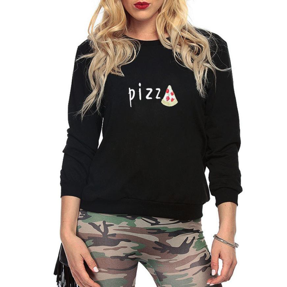 feitong Pizza Printed Cloth Women Black Long Sleeve Round Neck Print Casual Sweatshirt Pullover Tops Worth buying