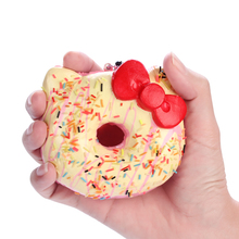 15pcs/lot 10cm original package hello kitty squishy rare Jumbo Donut cell phone Strap Charm cute squishies wholesales food buns(China)