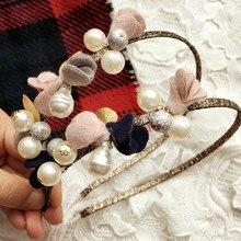 New Trendy Fine Pearl Hair Hoop Tiara Wedding Accessories Beads Hair Jewelry Pink Flower Headbands Girl Bowknot Headwear Gift
