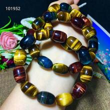 Newly Natural Colorful Tiger Eye Barrel Beads Bracelet 15x10mm Women Men Stretch Bangles Crystal Gemstone Stone AAAAA