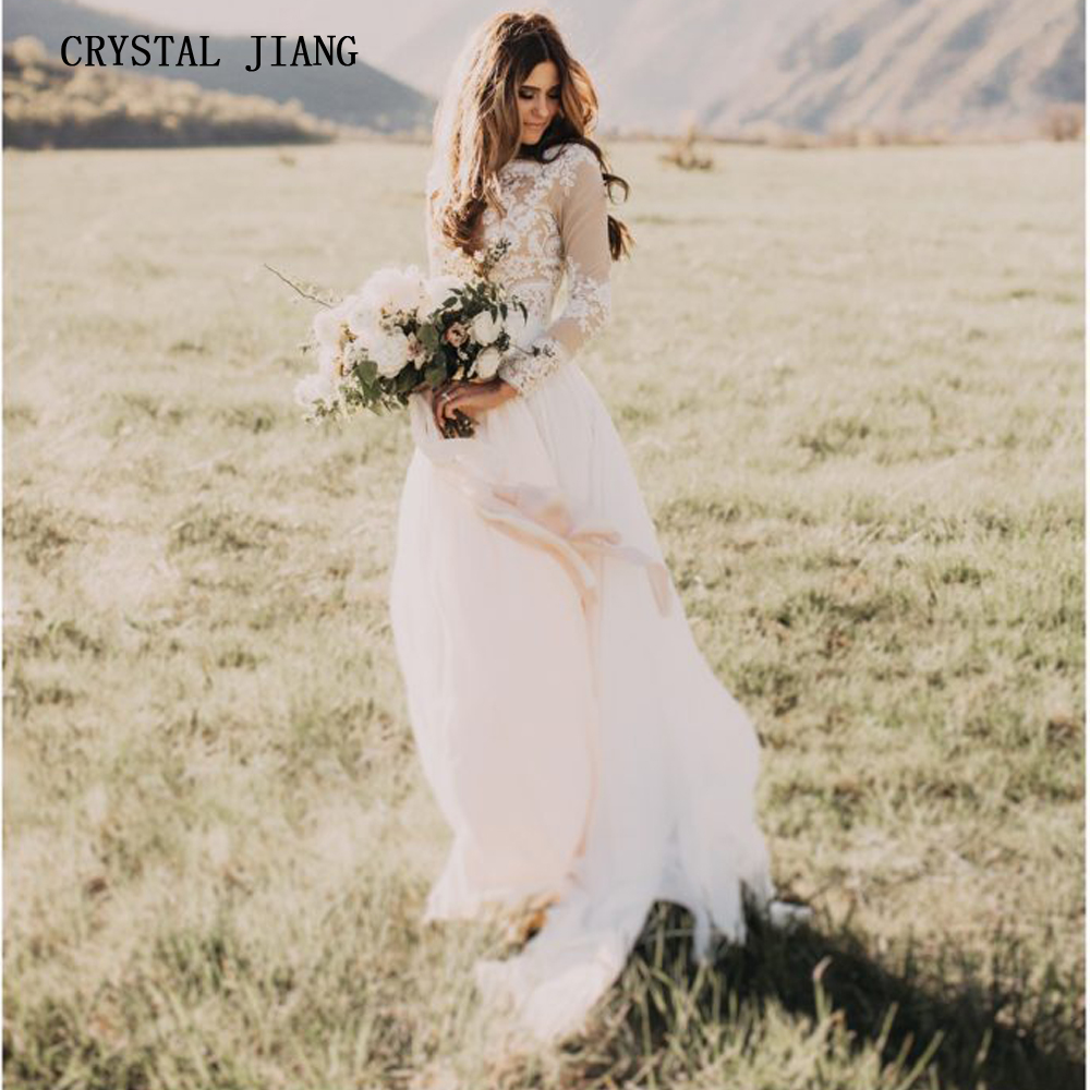 Wedding Dresses 2019 Long Sleeves Lace Appliques Boho Bride Dress Princess Wedding Gown Free Shipping Robe De Mariee