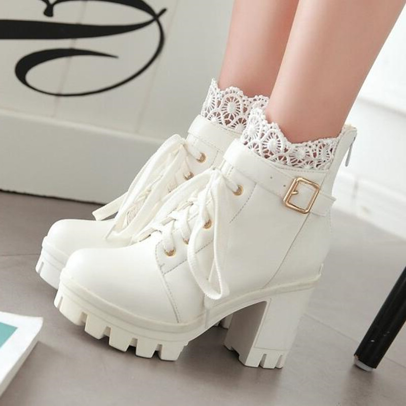 Image 3 - winter New pattern High heeled Coarse heel Martin boots Frenulum Waterproof Thick bottom Large code white Women Boots 34 43-in Ankle Boots from Shoes