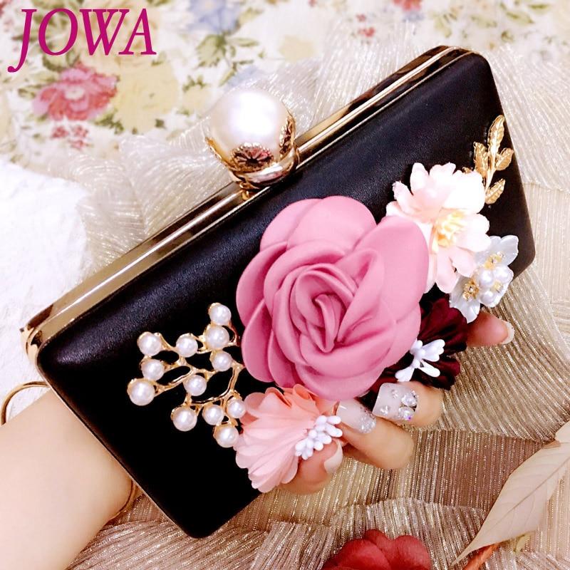 2017 New Design Womens Fashion Evening Bags Wedding Party Clutch Socialite Flowers Pearl Handbag Night Purse Mini Bride Package