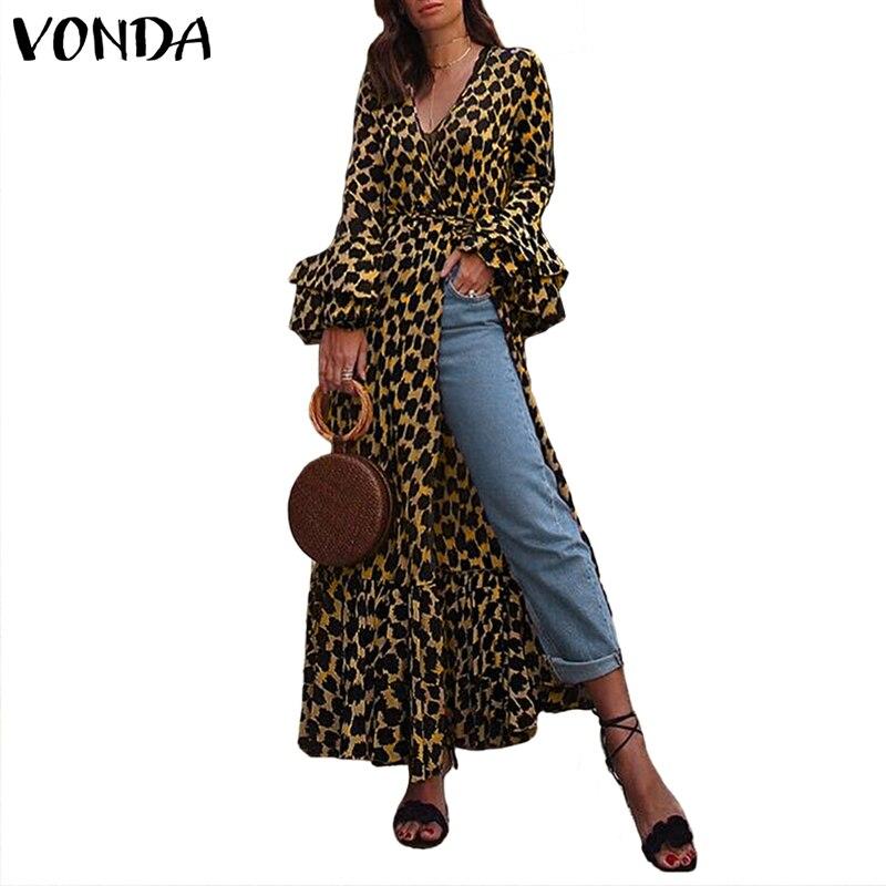 Плюс размер Леопардовый принт VONDA женский винтажный комбинезон летнее платье пляжные платья вечернее платье Femme V шеи сексуальный сарафан