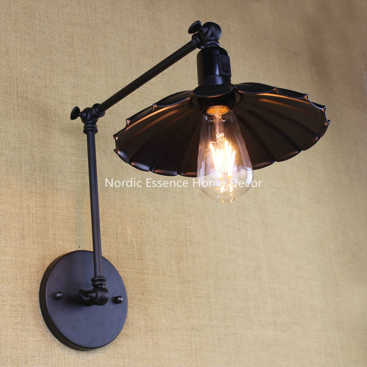 ФОТО Nordic EU American LOFT countryside industrial wall light switch,restaurant Cafe bar wrought iron lamp study bedroom sconce