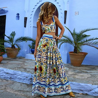 Women Summer Long Dress Casual Crop Top Sexy Print Beach Bohemian Dress Party Night Vintage Elegant Dress Plus Size Maxi Dress