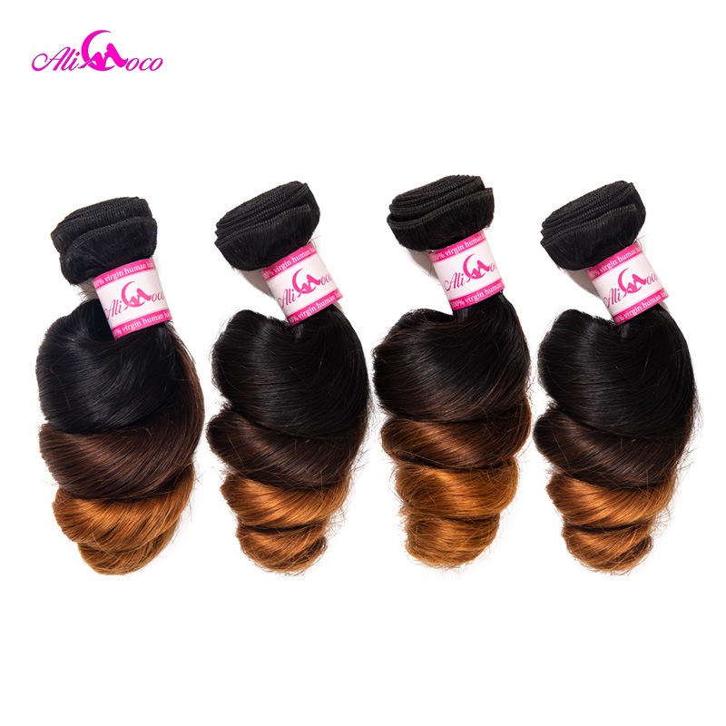 Ali Coco Brazilian Loose Wave Bundles 4 Bundle Deals 1B/4/30 Color 100% Human Hair Bundles 12-28 Inch Remy Hair Extension