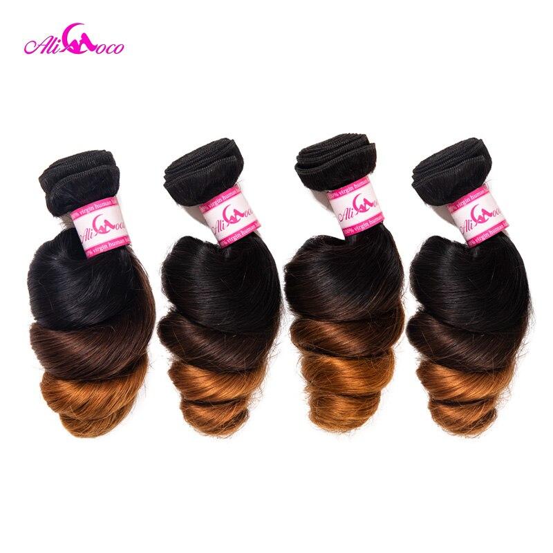 Ali Coco brasileño de onda suelta paquetes 4 paquete ofertas 1B/4/30 Color 100% paquetes de cabello humano 12 -28 pulgadas Remy extensión del cabello