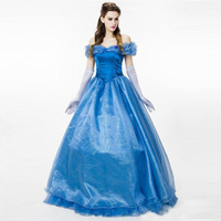High Quality Adult Cinderella Costume Ball Gown Dress Hoop Enchanting Adult Cosplay Princess Dress Halloween Costume For Women